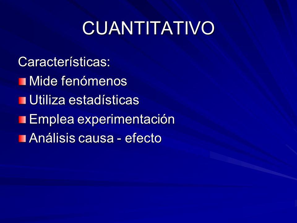 CUANTITATIVO Características: Mide fenómenos Utiliza estadísticas Emplea experimentación Análisis causa - efecto