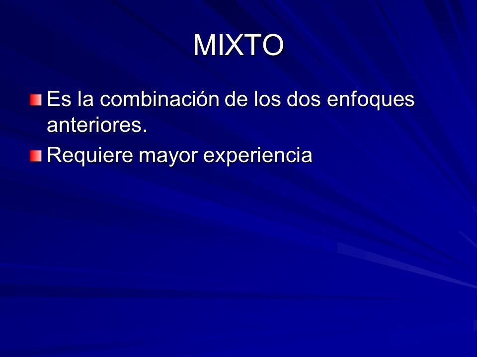 MIXTO Es la combinación de los dos enfoques anteriores. Requiere mayor experiencia