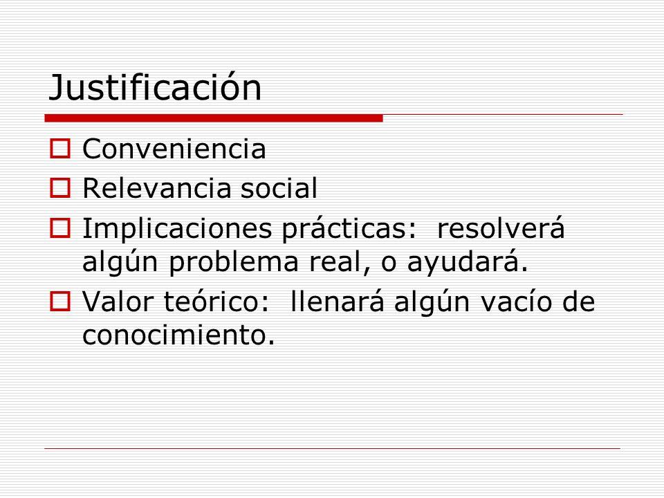 Justificación Conveniencia Relevancia social Implicaciones prácticas: resolverá algún problema real, o ayudará. Valor teórico: llenará algún vacío de