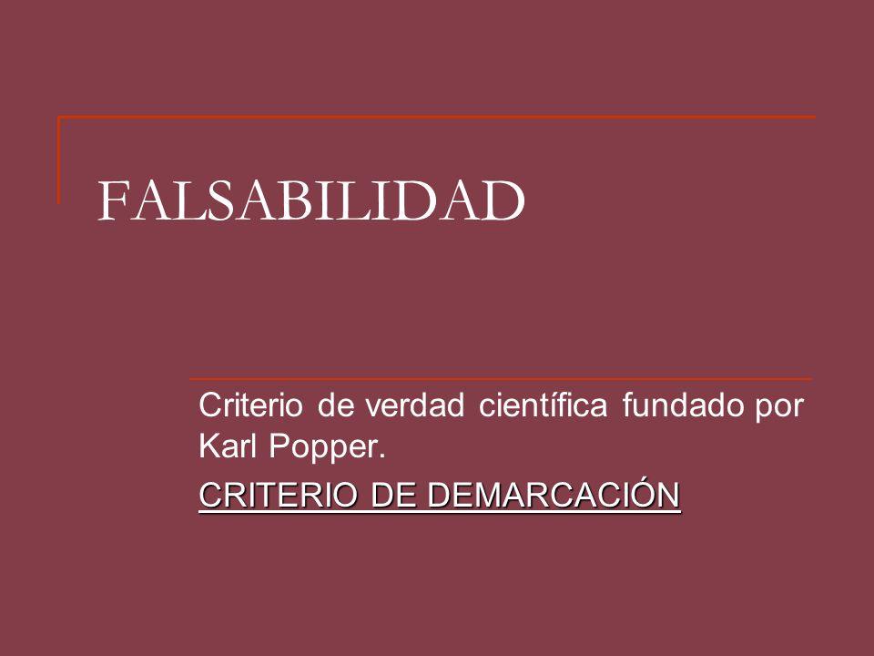 FALSABILIDAD Criterio de verdad científica fundado por Karl Popper. CRITERIO DE DEMARCACIÓN