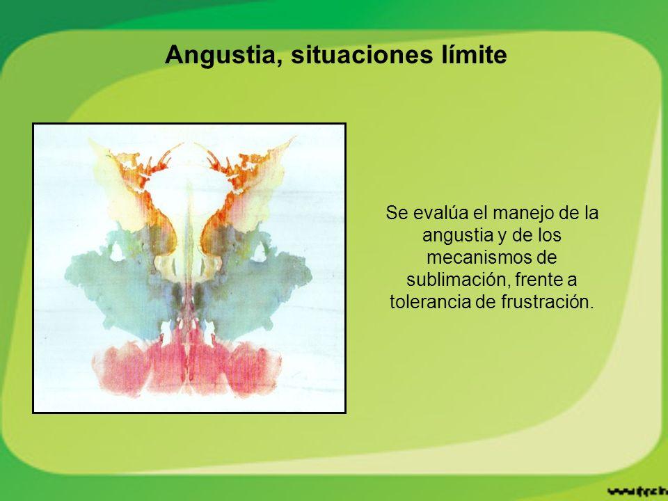 Angustia, situaciones límite Se evalúa el manejo de la angustia y de los mecanismos de sublimación, frente a tolerancia de frustración.