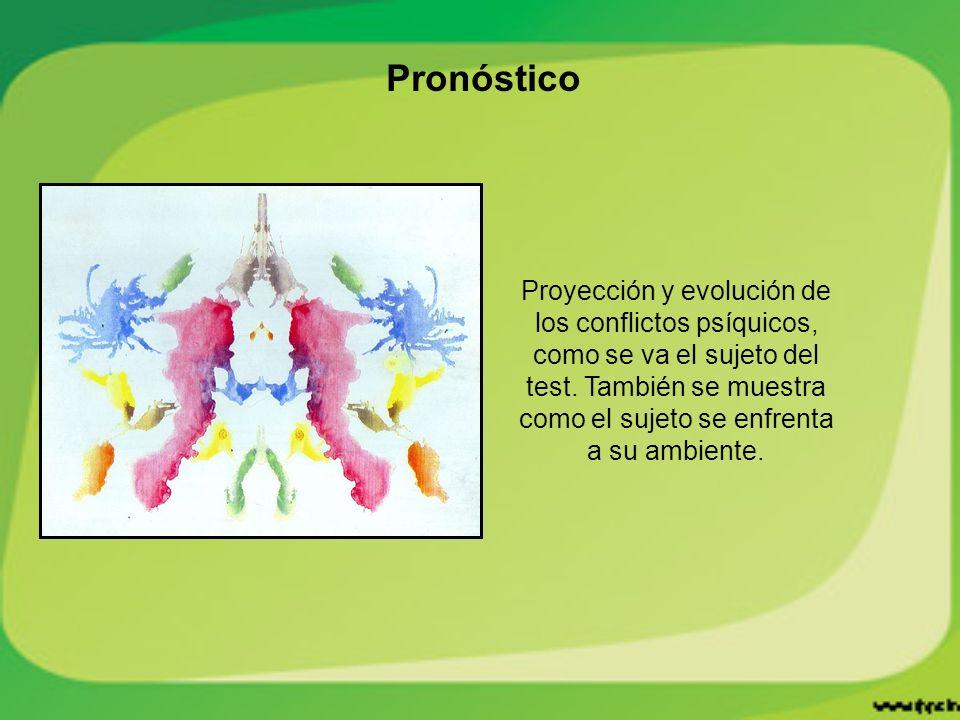 Pronóstico Proyección y evolución de los conflictos psíquicos, como se va el sujeto del test.