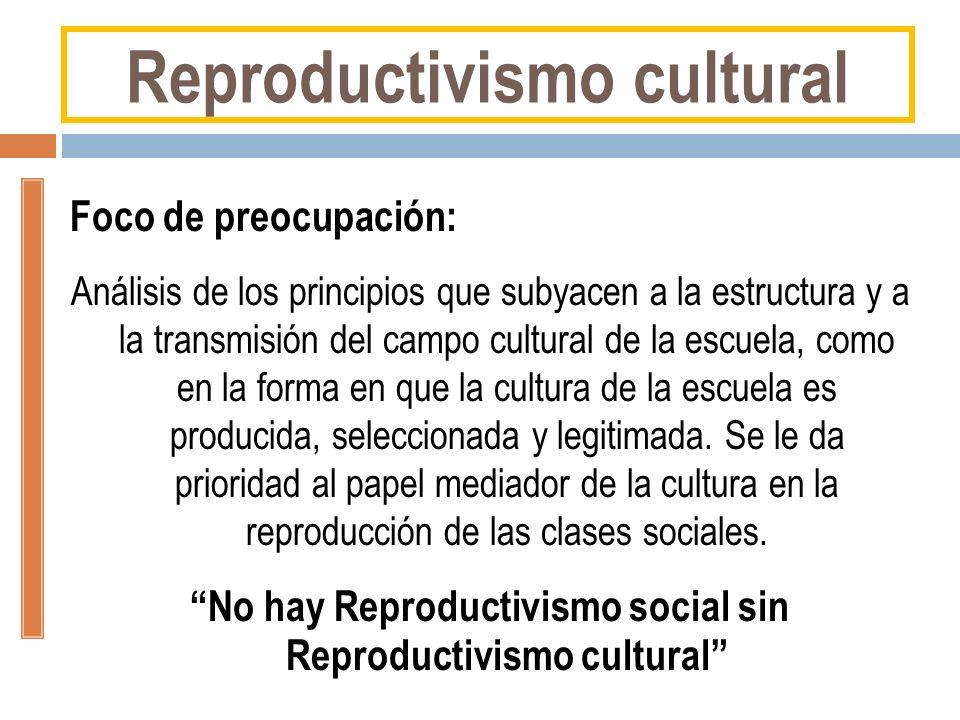 Foco de preocupación: Análisis de los principios que subyacen a la estructura y a la transmisión del campo cultural de la escuela, como en la forma en