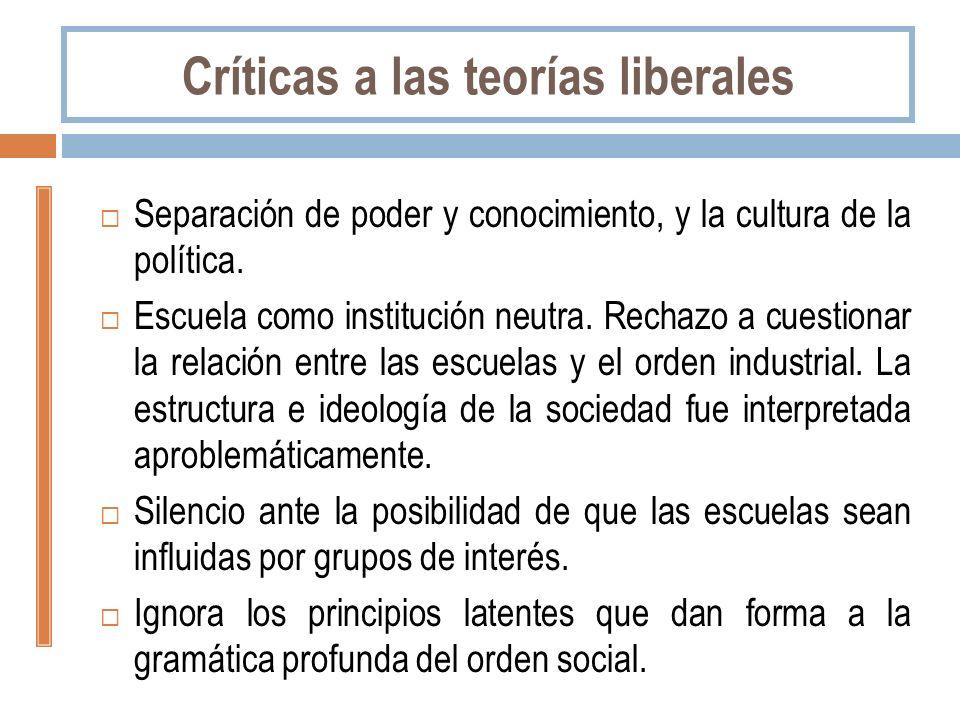 Críticas a las teorías liberales Separación de poder y conocimiento, y la cultura de la política. Escuela como institución neutra. Rechazo a cuestiona