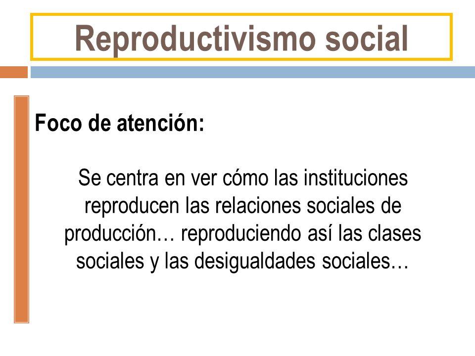Reproductivismo social Foco de atención: Se centra en ver cómo las instituciones reproducen las relaciones sociales de producción… reproduciendo así l