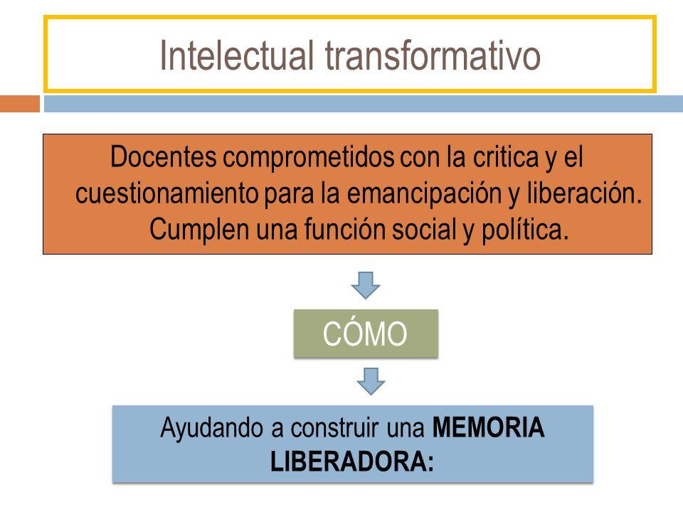 Intelectual transformativo Docentes comprometidos con la critica y el cuestionamiento para la emancipación y liberación. Cumplen una función social y