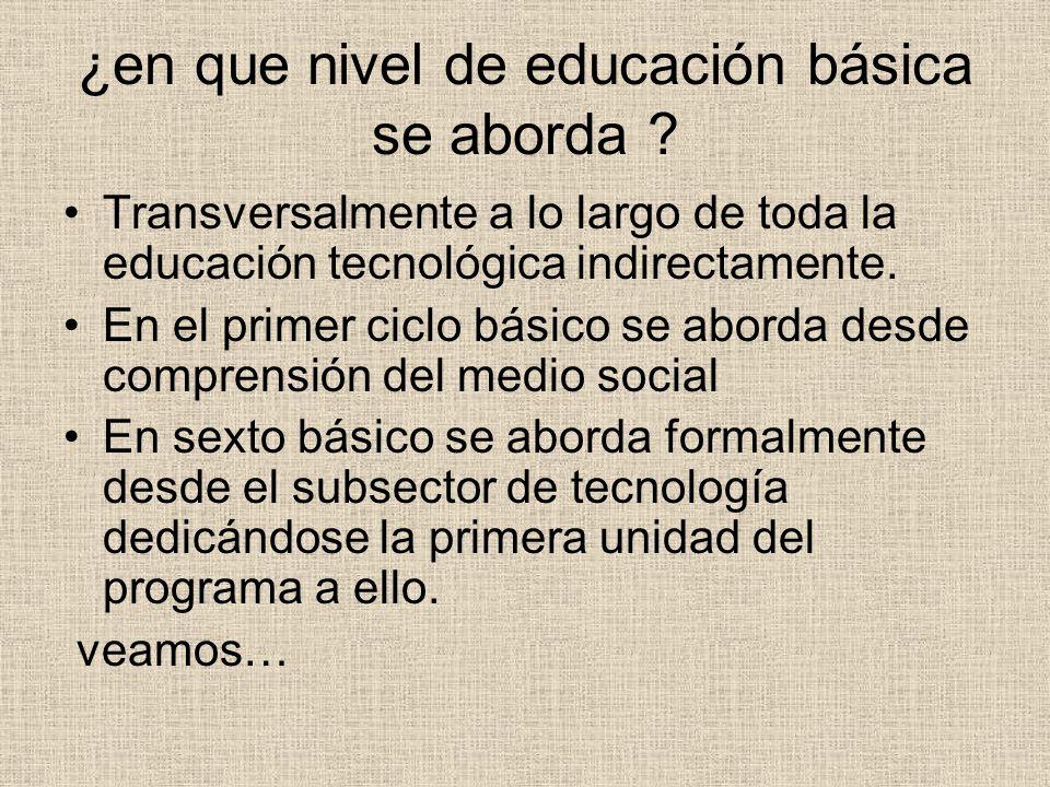 ¿en que nivel de educación básica se aborda ? Transversalmente a lo largo de toda la educación tecnológica indirectamente. En el primer ciclo básico s