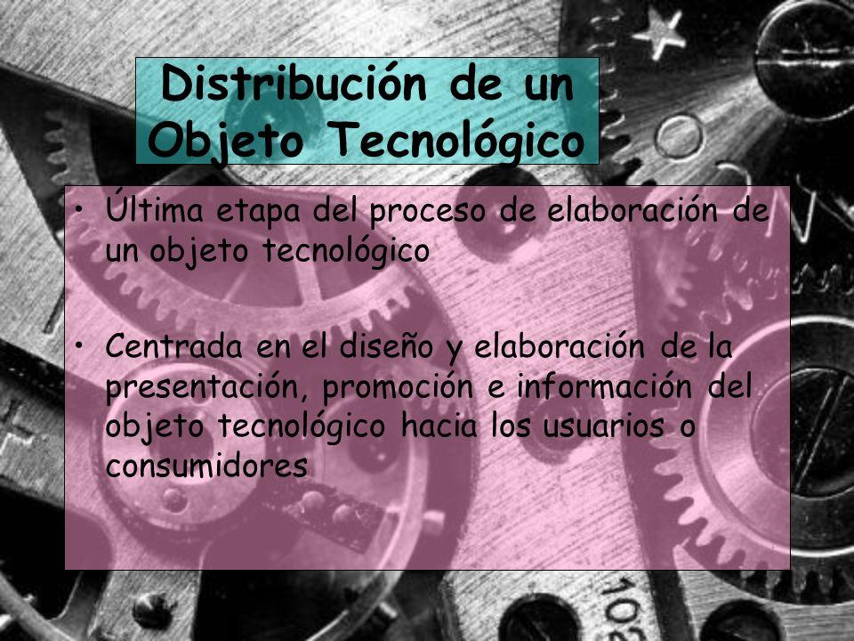 Distribución de un Objeto Tecnológico Última etapa del proceso de elaboración de un objeto tecnológico Centrada en el diseño y elaboración de la prese