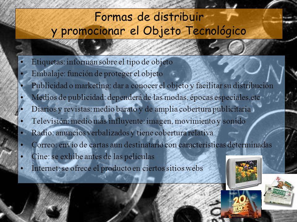 Formas de distribuir y promocionar el Objeto Tecnológico Etiquetas: informan sobre el tipo de objeto Embalaje: función de proteger el objeto Publicida