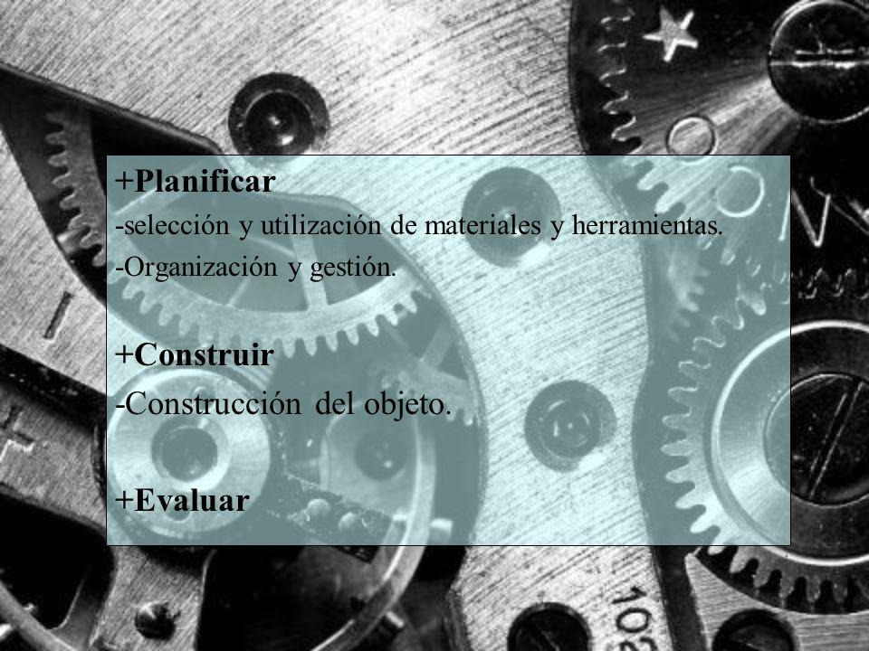 +Planificar -selección y utilización de materiales y herramientas. -Organización y gestión. +Construir -Construcción del objeto. +Evaluar