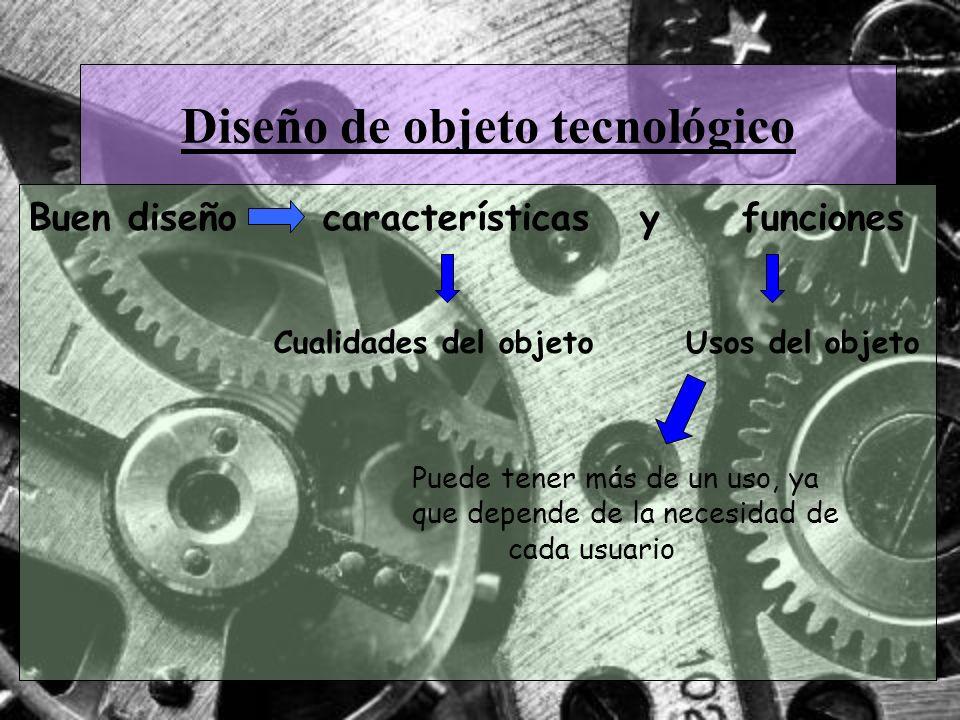 Diseño de objeto tecnológico Buen diseño características y funciones Cualidades del objeto Usos del objeto Puede tener más de un uso, ya que depende d