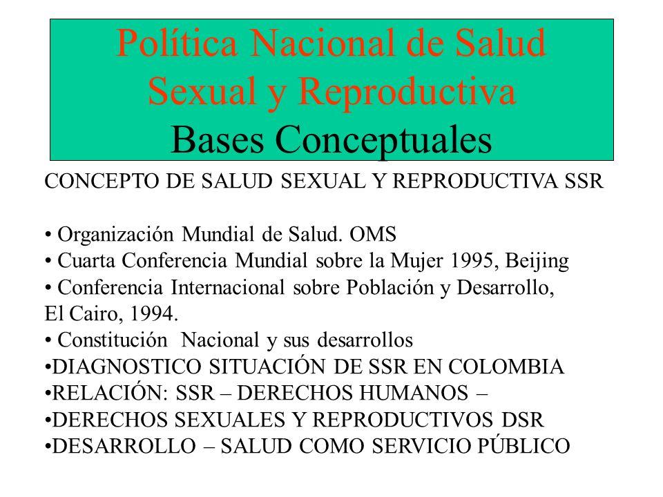 Política Nacional de Salud Sexual y Reproductiva Bases Conceptuales CONCEPTO DE SALUD SEXUAL Y REPRODUCTIVA SSR Organización Mundial de Salud. OMS Cua