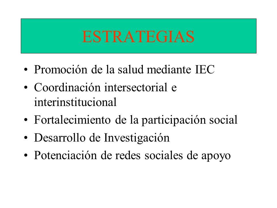 ESTRATEGIAS Promoción de la salud mediante IEC Coordinación intersectorial e interinstitucional Fortalecimiento de la participación social Desarrollo