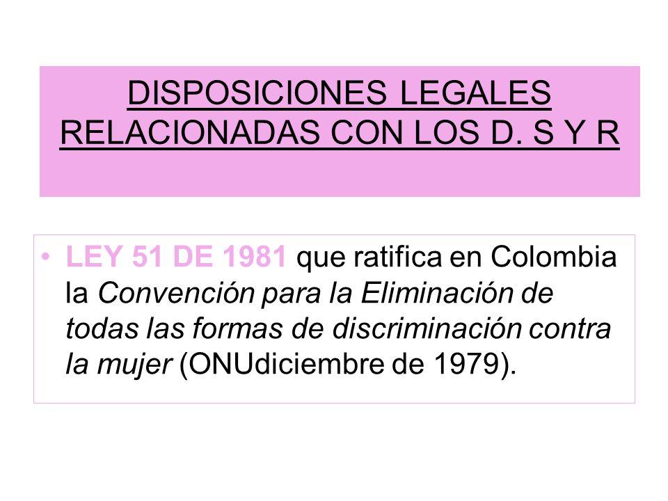 DISPOSICIONES LEGALES RELACIONADAS CON LOS D. S Y R LEY 51 DE 1981 que ratifica en Colombia la Convención para la Eliminación de todas las formas de d