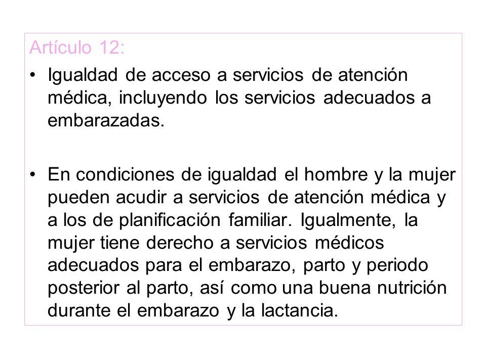 Artículo 12: Igualdad de acceso a servicios de atención médica, incluyendo los servicios adecuados a embarazadas. En condiciones de igualdad el hombre