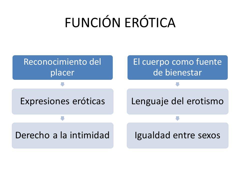FUNCIÓN ERÓTICA Reconocimiento del placer Expresiones eróticasDerecho a la intimidad El cuerpo como fuente de bienestar Lenguaje del erotismoIgualdad