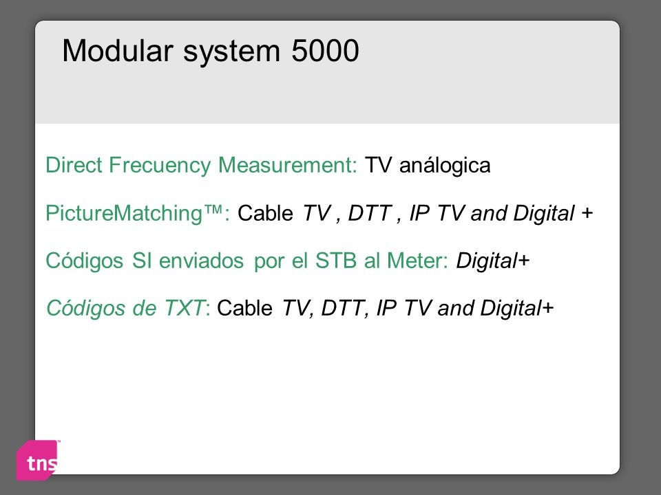 Modular system 5000 Direct Frecuency Measurement: TV análogica PictureMatching: Cable TV, DTT, IP TV and Digital + Códigos SI enviados por el STB al M