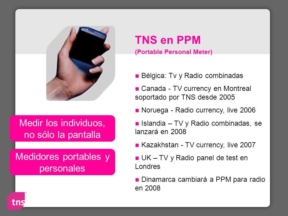 TNS en PPM (Portable Personal Meter) Bélgica: Tv y Radio combinadas Canada - TV currency en Montreal soportado por TNS desde 2005 Noruega - Radio curr