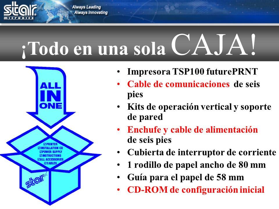 Impresora TSP100 futurePRNT Cable de comunicaciones de seis pies Kits de operación vertical y soporte de pared Enchufe y cable de alimentación de seis pies Cubierta de interruptor de corriente 1 rodillo de papel ancho de 80 mm Guía para el papel de 58 mm CD-ROM de configuración inicial ¡Todo en una sola CAJA!
