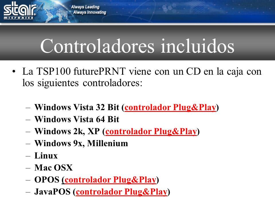 La TSP100 futurePRNT está provista de utilidades gratis incluidas con los controladores.