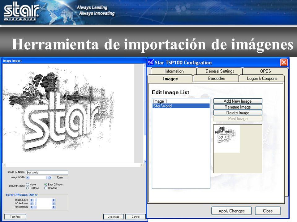 Importe cualquier gráfico con la herramienta Star: Se puede acceder a archivos jpg, gif o bmp monocolor o en colores desde el panel de control, se pueden guardar por nombre e incluso se pueden preparar para la producción final con una selección de métodos de difuminado.