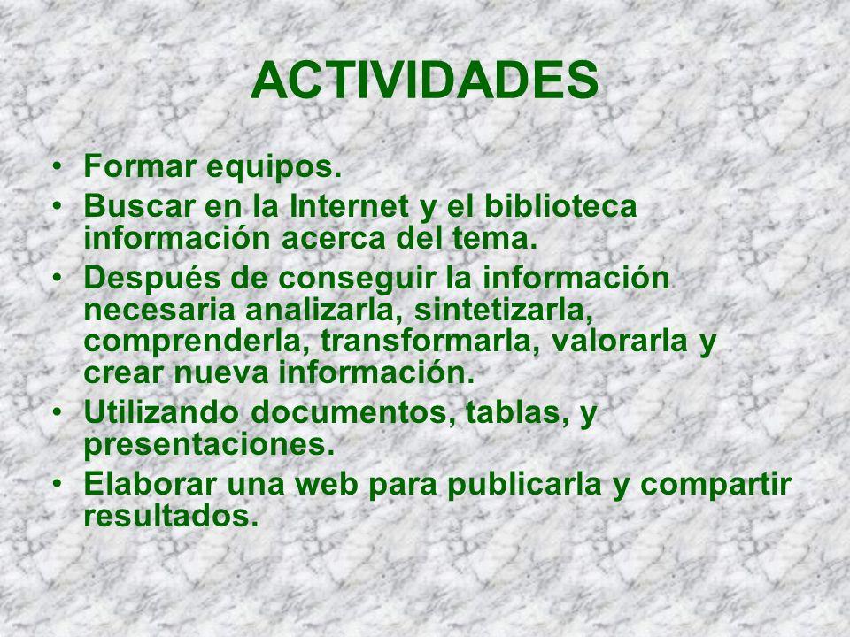 ACTIVIDADES Formar equipos. Buscar en la Internet y el biblioteca información acerca del tema. Después de conseguir la información necesaria analizarl