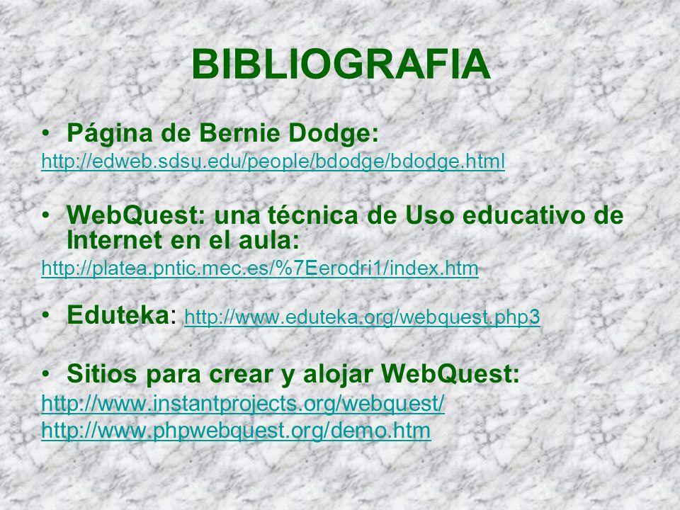 BIBLIOGRAFIA Página de Bernie Dodge: http://edweb.sdsu.edu/people/bdodge/bdodge.html WebQuest: una técnica de Uso educativo de Internet en el aula: ht