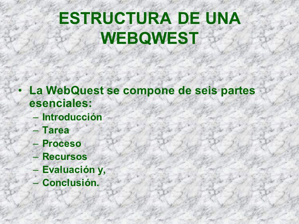 ESTRUCTURA DE UNA WEBQWEST La WebQuest se compone de seis partes esenciales: –Introducción –Tarea –Proceso –Recursos –Evaluación y, –Conclusión.