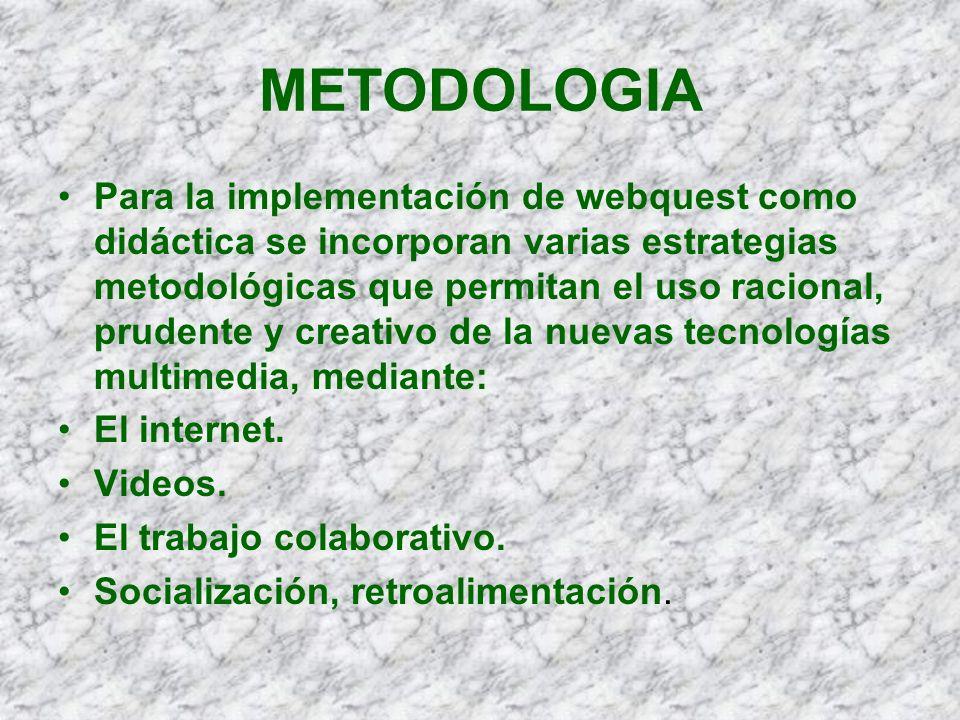 METODOLOGIA Para la implementación de webquest como didáctica se incorporan varias estrategias metodológicas que permitan el uso racional, prudente y