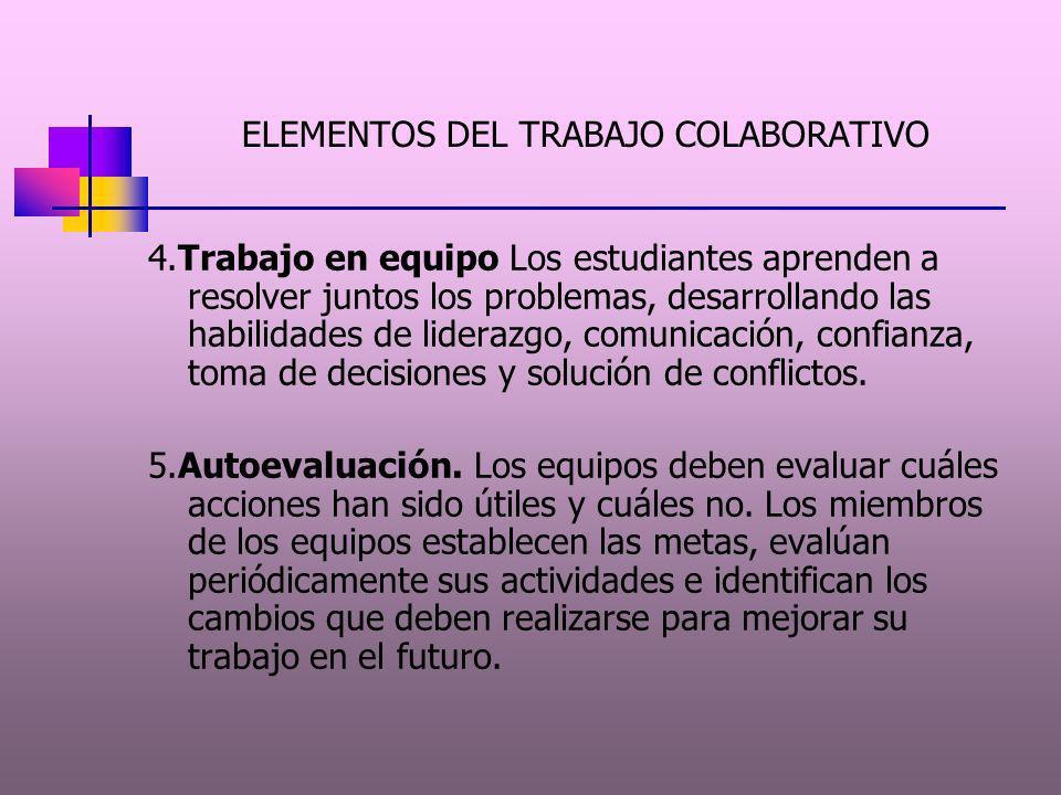ELEMENTOS DEL APRENDEZAJE COLABORATIVO.1.Cooperación. Los estudiantes se apoyan mutuamente para cumplir con un doble objetivo: lograr ser expertos en