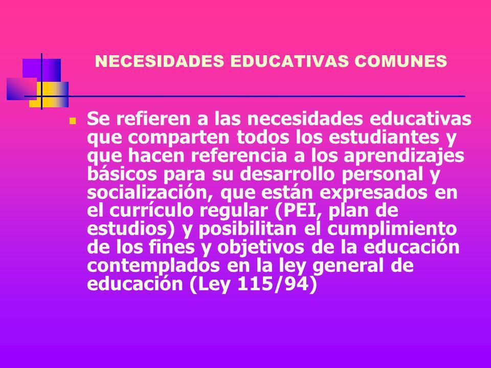 NECESIDADES EDUCATIVAS Desde la nueva concepción de la inclusión, ya no tiene sentido hablar de diferentes categorías o tipología de alumnos, sino de