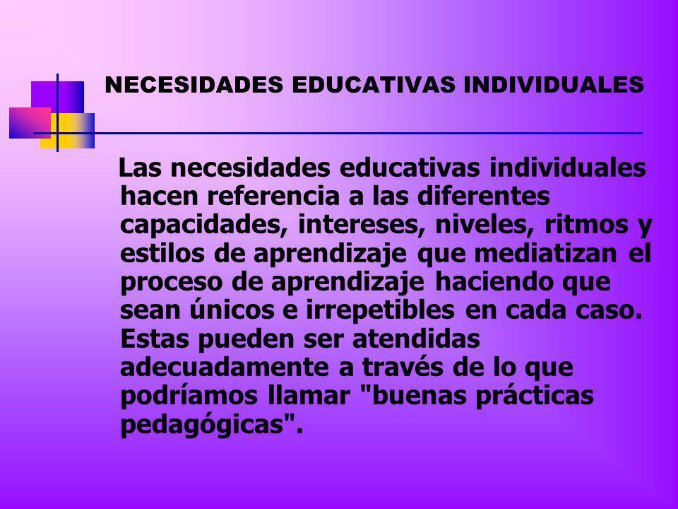 NECESIDADES EDUCATIVAS COMUNES Se refieren a las necesidades educativas que comparten todos los estudiantes y que hacen referencia a los aprendizajes