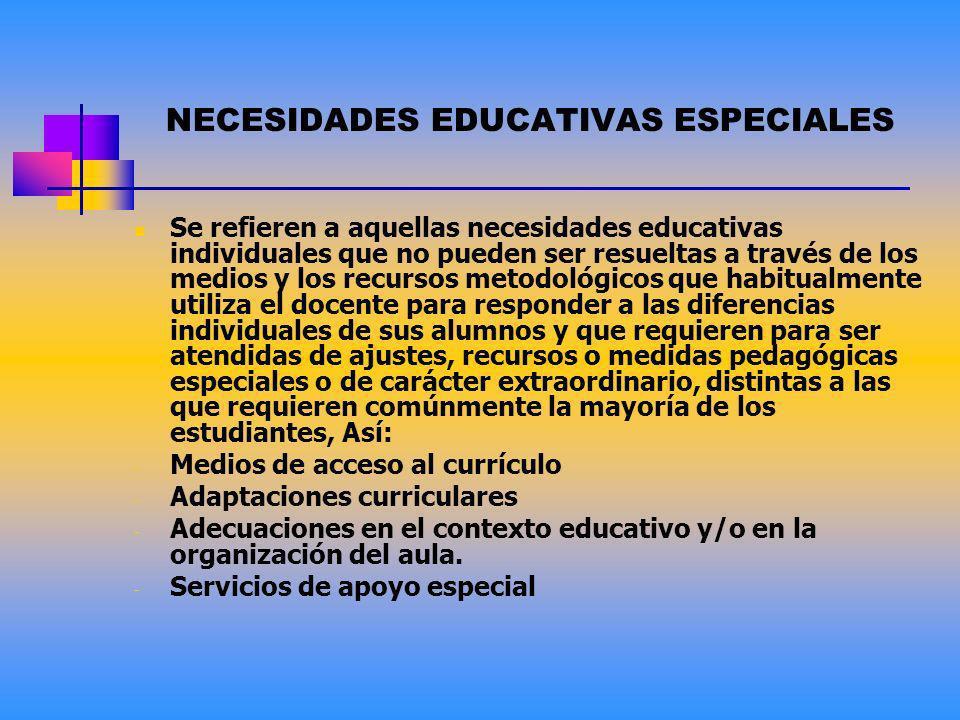 NECESIDADES EDUCATIVAS INDIVIDUALES Las necesidades educativas individuales hacen referencia a las diferentes capacidades, intereses, niveles, ritmos