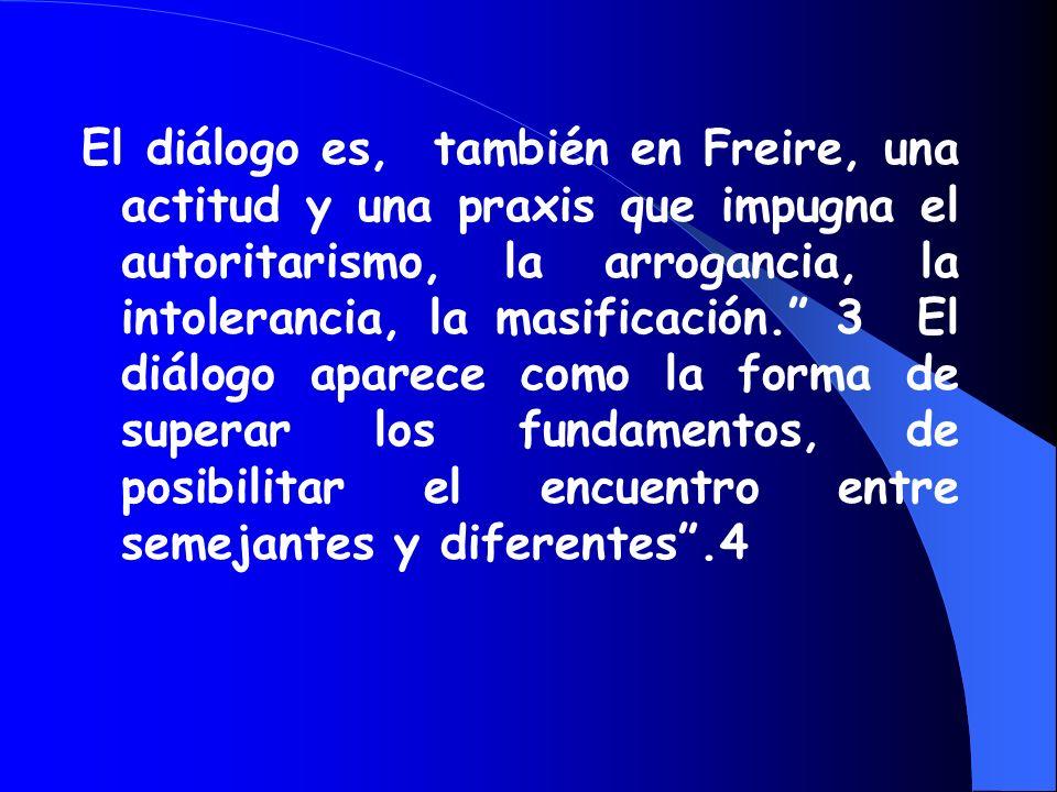 En Freire, el diálogo es el encuentro de los hombres para la tarea común de saber y actuar; es la fuente de poder desde su carga de criticidad y reali