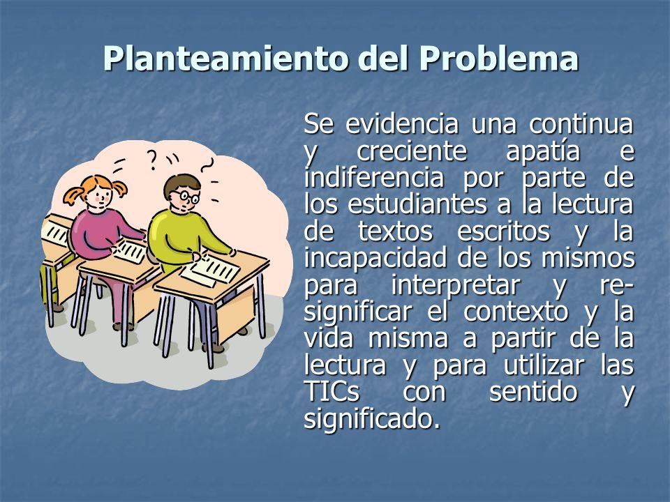 Planteamiento del Problema Se evidencia una continua y creciente apatía e indiferencia por parte de los estudiantes a la lectura de textos escritos y