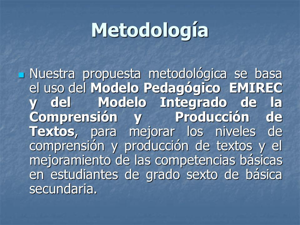 Metodología Nuestra propuesta metodológica se basa el uso del Modelo Pedagógico EMIREC y del Modelo Integrado de la Comprensión y Producción de Textos, para mejorar los niveles de comprensión y producción de textos y el mejoramiento de las competencias básicas en estudiantes de grado sexto de básica secundaria.