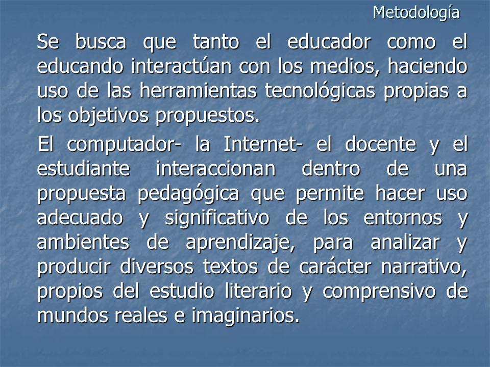 Metodología Se busca que tanto el educador como el educando interactúan con los medios, haciendo uso de las herramientas tecnológicas propias a los objetivos propuestos.