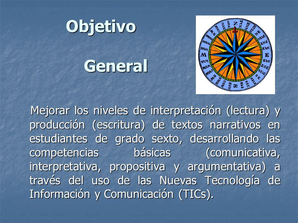 Objetivo General Mejorar los niveles de interpretación (lectura) y producción (escritura) de textos narrativos en estudiantes de grado sexto, desarrol