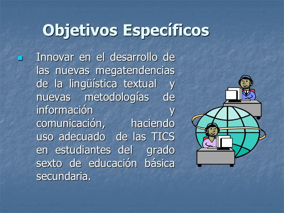 Objetivos Específicos Innovar en el desarrollo de las nuevas megatendencias de la lingüística textual y nuevas metodologías de información y comunicación, haciendo uso adecuado de las TICS en estudiantes del grado sexto de educación básica secundaria.