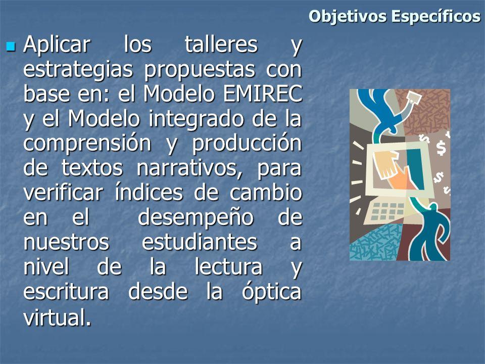 Aplicar los talleres y estrategias propuestas con base en: el Modelo EMIREC y el Modelo integrado de la comprensión y producción de textos narrativos,