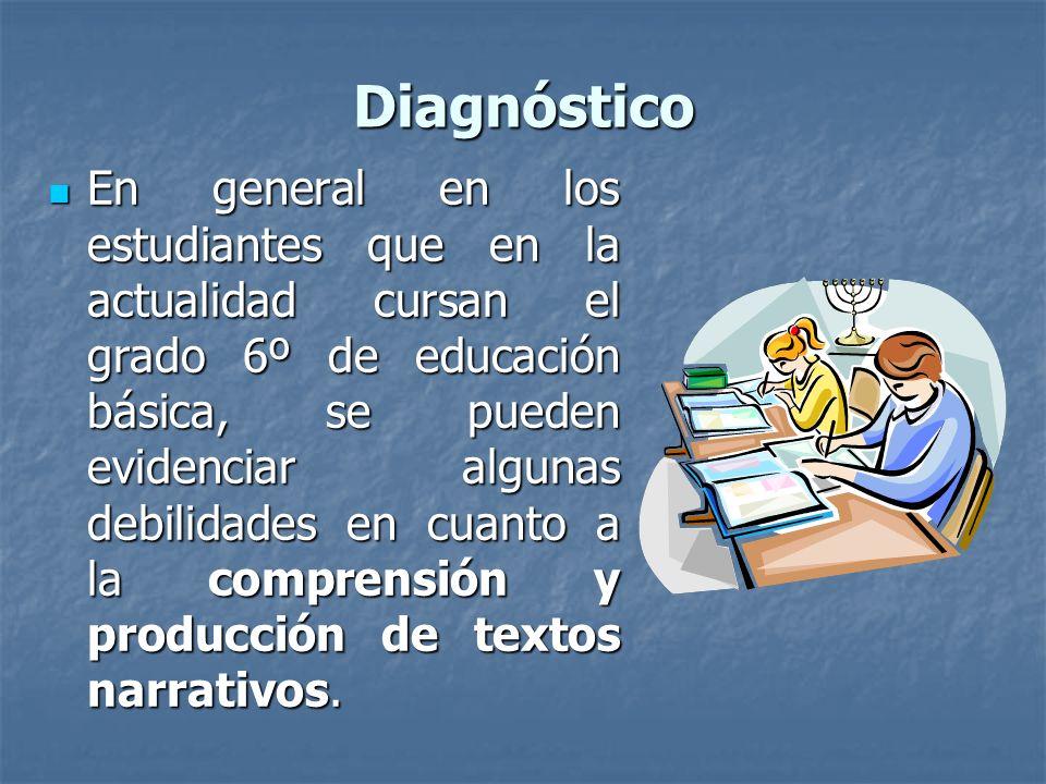 Diagnóstico En general en los estudiantes que en la actualidad cursan el grado 6º de educación básica, se pueden evidenciar algunas debilidades en cuanto a la comprensión y producción de textos narrativos.