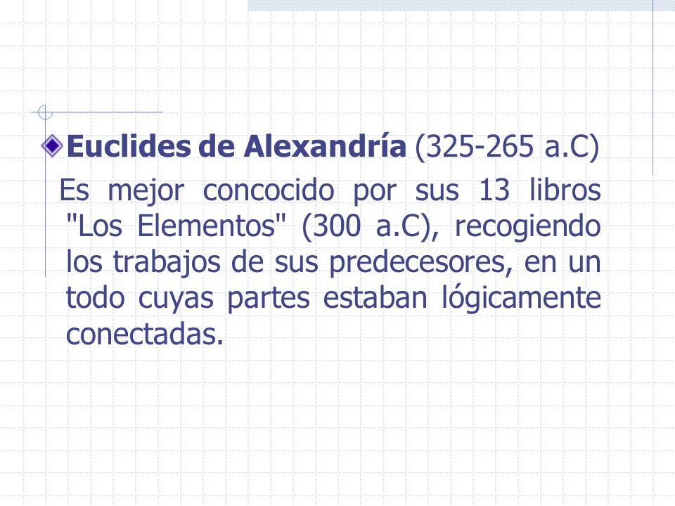 Euclides de Alexandría (325-265 a.C) Es mejor concocido por sus 13 libros