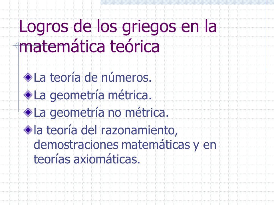 Logros de los griegos en la matemática teórica La teoría de números. La geometría métrica. La geometría no métrica. la teoría del razonamiento, demost