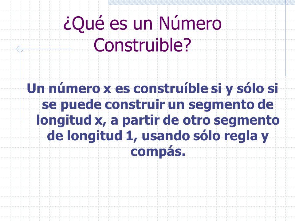 ¿Qué es un Número Construible? Un número x es construíble si y sólo si se puede construir un segmento de longitud x, a partir de otro segmento de long