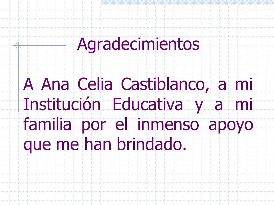 Agradecimientos A Ana Celia Castiblanco, a mi Institución Educativa y a mi familia por el inmenso apoyo que me han brindado.