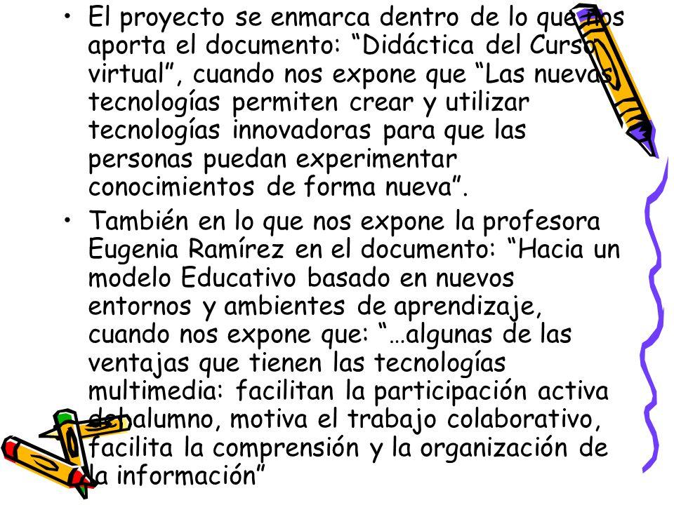 El proyecto se enmarca dentro de lo que nos aporta el documento: Didáctica del Curso virtual, cuando nos expone que Las nuevas tecnologías permiten cr