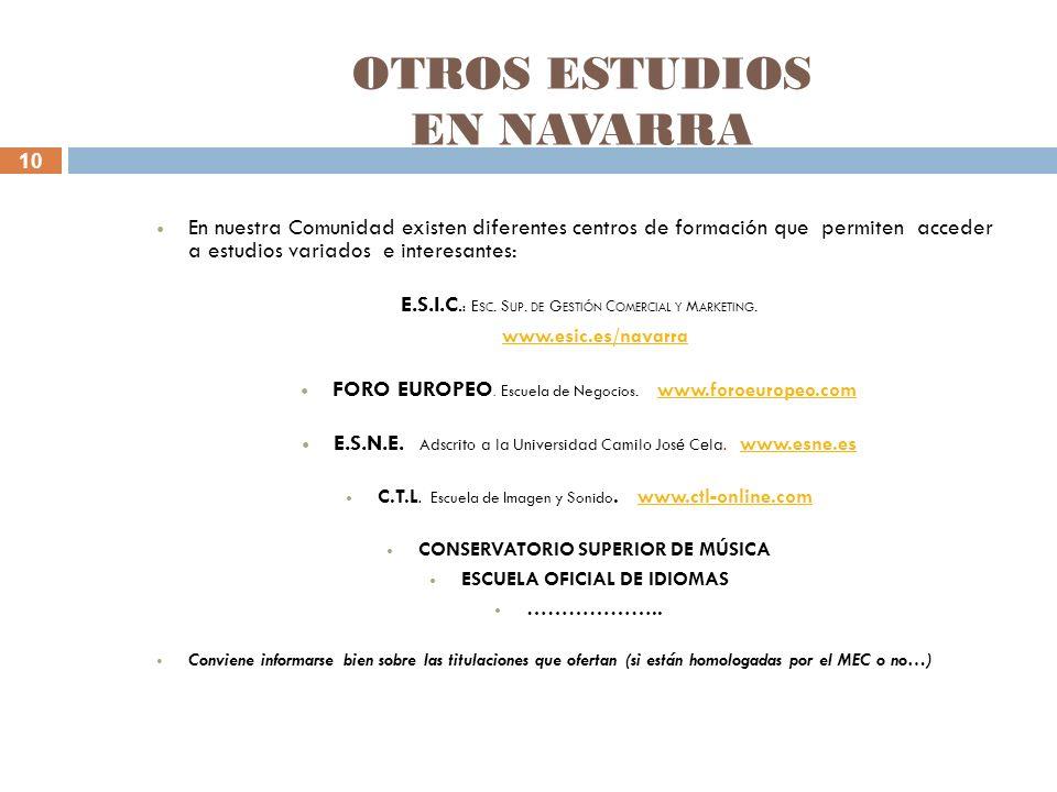 10 OTROS ESTUDIOS EN NAVARRA En nuestra Comunidad existen diferentes centros de formación que permiten acceder a estudios variados e interesantes: E.S.I.C.