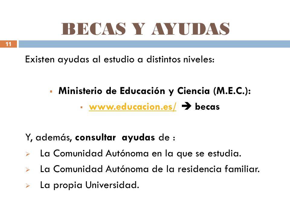 11 BECAS Y AYUDAS Existen ayudas al estudio a distintos niveles: Ministerio de Educación y Ciencia (M.E.C.): www.educacion.es/ becas www.educacion.es/ Y, además, consultar ayudas de : La Comunidad Autónoma en la que se estudia.