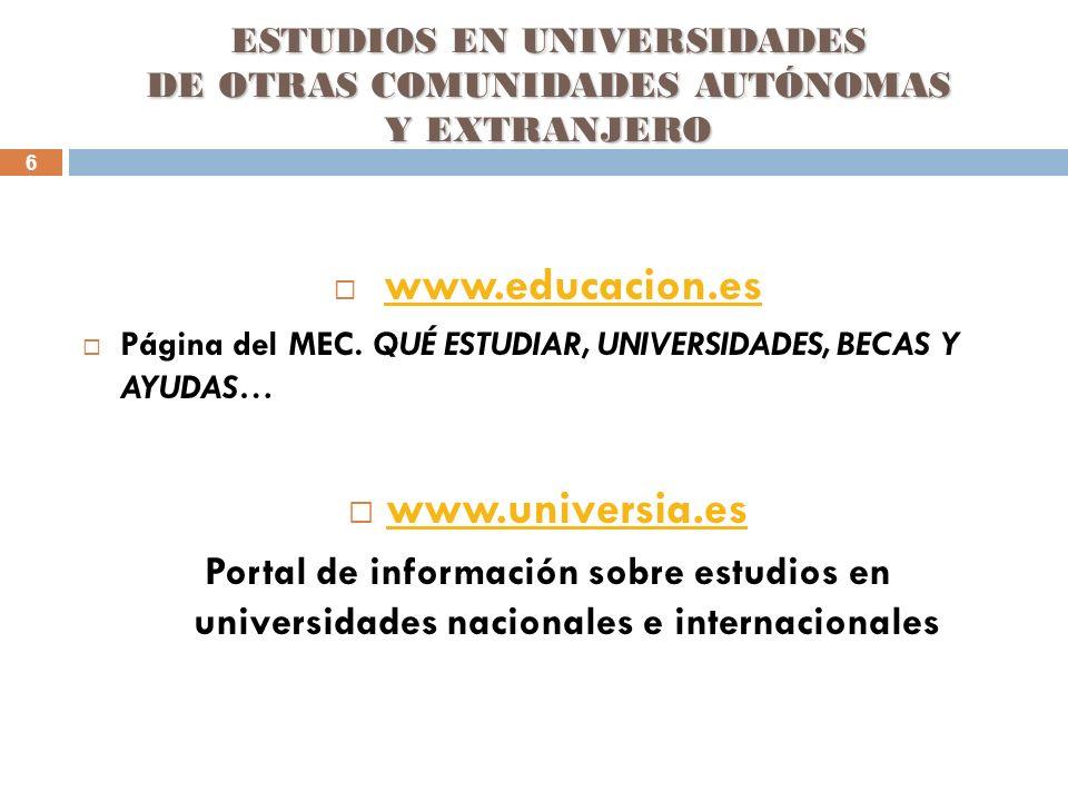 6 ESTUDIOS EN UNIVERSIDADES DE OTRAS COMUNIDADES AUTÓNOMAS Y EXTRANJERO www.educacion.es Página del MEC. QUÉ ESTUDIAR, UNIVERSIDADES, BECAS Y AYUDAS…