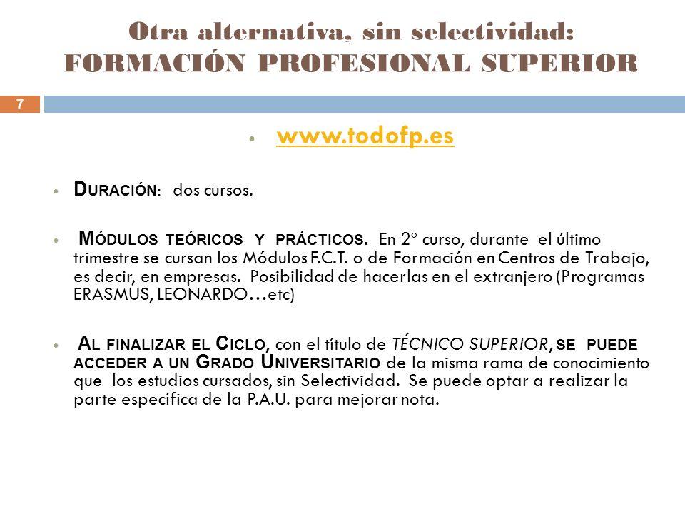 7 Otra alternativa, sin selectividad: FORMACIÓN PROFESIONAL SUPERIOR www.todofp.es D URACIÓN : dos cursos. M ÓDULOS TEÓRICOS Y PRÁCTICOS. En 2º curso,